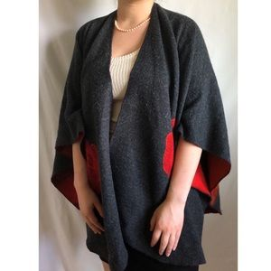 Woven Rose Patterned Red and Grey Reversible Shawl